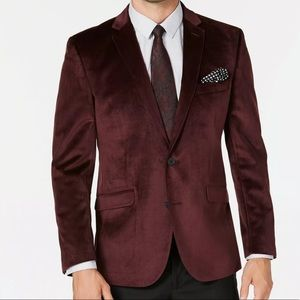 Kenneth Cole Slim Fit Burgundy Velvet Sport Coat